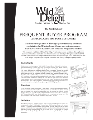Fillable Online Wild Delight Frequent Buyer Program Order Form Pwdbr0150 Fax Email Print Pdffiller