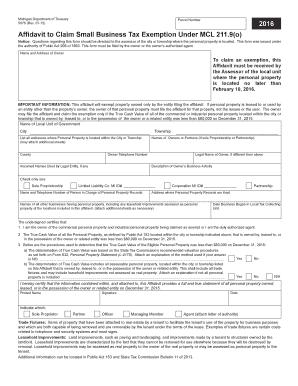 Fillable Online michigan Affidavit to Claim Small Business Tax ...