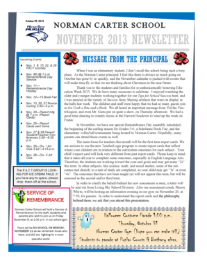 October 29, 2013 NORMAN CARTER SCHOOL NOVEMBER 2013 NEWSLETTER Upcoming Events: - normancarter lskysd ca%2fsites%2fwww normancarter lskysd