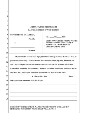 Fillable Online Judge Rice's Speedy Trial Waiver - Eastern ...