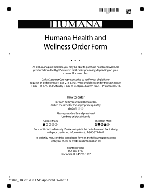 Fillable Online Humana Health and Wellness Order Form Fax Email ...