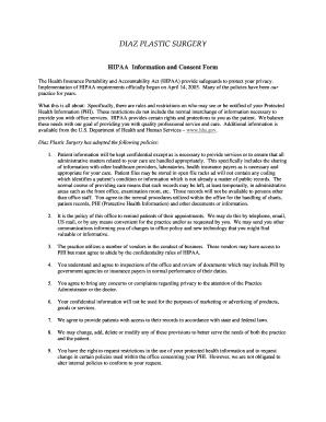 Fillable Online Diaz Plastic Surgery HIPAA Patient Consent Forms-1 ...