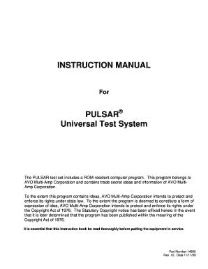 INSTRUCTION MANUAL PULSAR Universal Test System  Instruction Manual Template Word