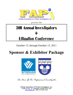 Sponsor & Exhibitor Package 2011 Annual Investigators & Litigation  - myfapi