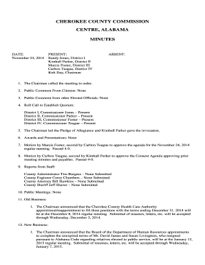 cherokee county al commission meeting minutes form
