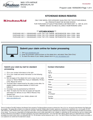 Fillable Online KITCHENAID BONUS REBATES Submit your claim ... - AJ on amana corporation, meyer corporation, kenwood limited, whirlpool canada, sunbeam products, hamilton beach brands, whirlpool corporation, kenwood chef,