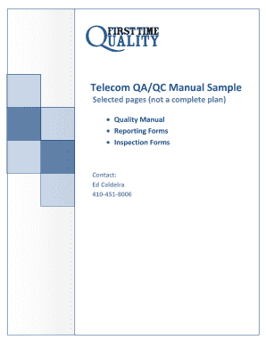 Telecom QA/QC Manual Sample - Quality & Safety Plans First Time ...