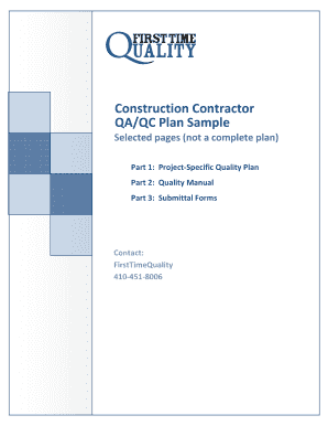 Construction Contractor QA/QC Plan Sample Selected pages (not a complete plan) Part 1: Project