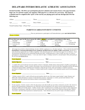 sports physical form 2019  Fillable Online DIAA Sports Physical Form Fax Email Print ...