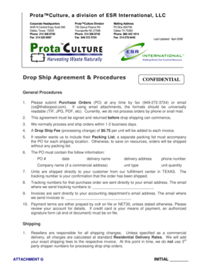 Fillable Online Drop Ship Agreement Procedures Prota Culture