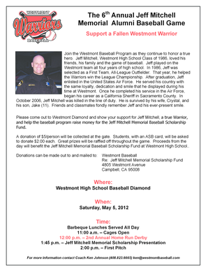 The 6th Annual Jeff Mitchell Memorial Alumni Baseball Game Support a Fallen Westmont Warrior Join the Westmont Baseball Program as they continue to honor a true hero