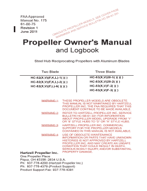 Manual 175. Propeller Owner\'s Manual and Logbook - (8 Hub) Steel Hub Reciprocating Proepllers with Alum. Blades