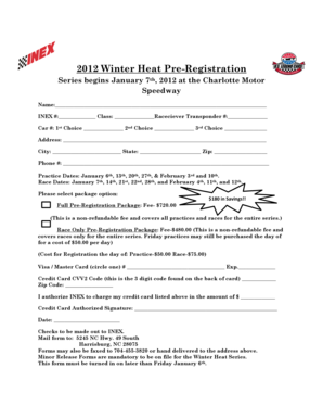 Fillable Online 2012 Winter Heat Pre Registration Series Begins January 7th 2012 At The