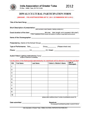 Diwali cultural participation form - India Association of Greater Tulsa - iagtok