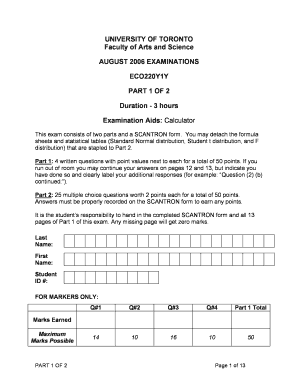 image regarding Printable Scantron named 3 hrs Investigation - Faculty of Toronto Fill On line