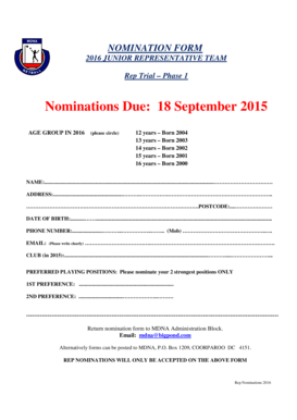 2016 nomination rep form