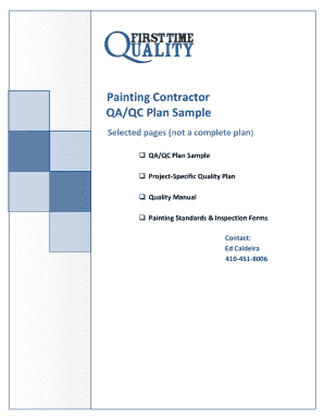 Fillable Online Painting Contractor QA/QC Plan Sample Selected ...
