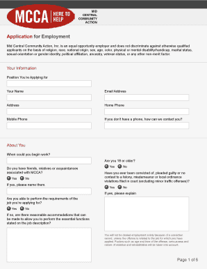 Application for Employment - Mid Central Community Action