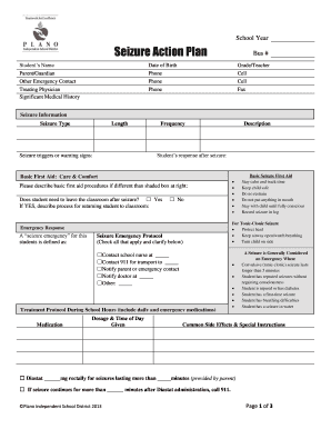 seizure action plan template - required seizure action plan plano independent school