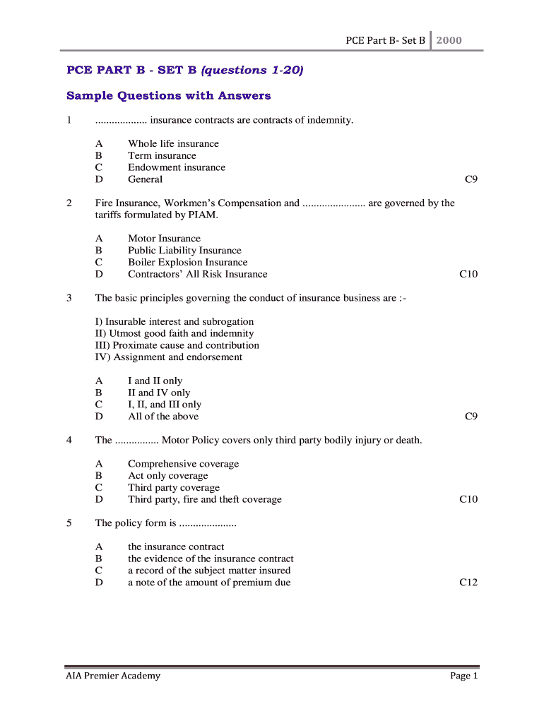 General Insurance Exam Questions And Answers Malaysia Fill