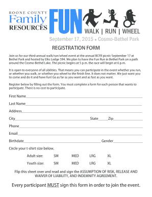 bcfr fun run registration fill online printable fillable blank
