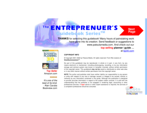 Preparing a Breakeven Analysis, Cahs Flow Statement & Income Projection. The Entrepreneur 's Guidebook Series