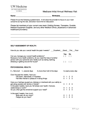 Wellness Visit Form - Fill Online, Printable, Fillable, Blank ...