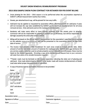 fillable online deldot deldot snow removal reimbursement program 2015 2016 sample deldot fax email print pdffiller