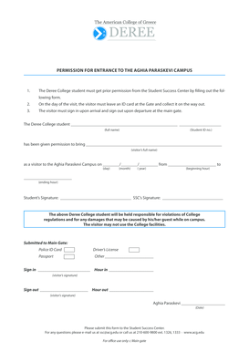 Permission for a Visitor to Enter Campus Form