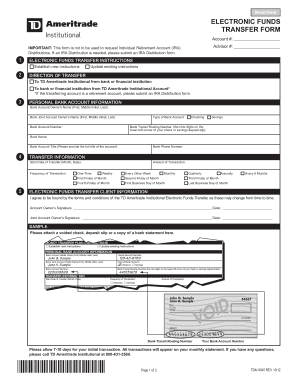Fillable Online TD-Ameritrade-Electronic-Funds-Transfer-Form ...