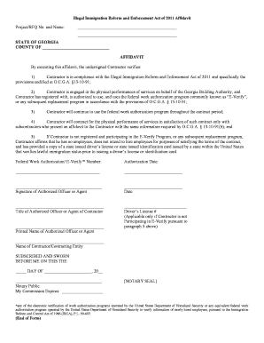 Illegal Immigration Reform and Enforcement Act of 2011 Affidavit Project/RFQ No - gba georgia