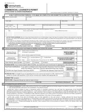 Fillable Online PennDOT - Commercial Learner's Permit Application ...