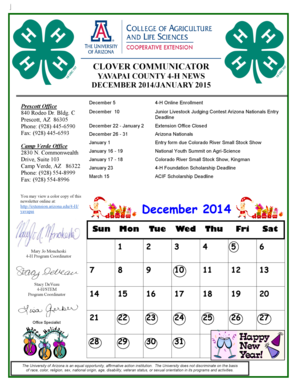 December 2014/January 2015 Yavapai County 4-H Newsletter - extension arizona