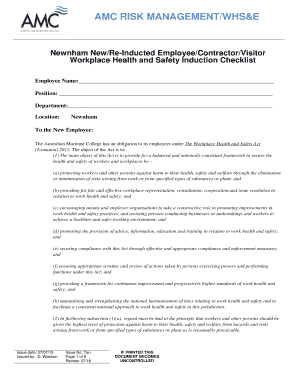 Workplace Health And Safety Induction Checklist Staff Contractor Visitor Newnham Australian Maritime