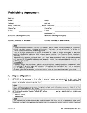 Editable Publishing Administration Agreement Sample Fill