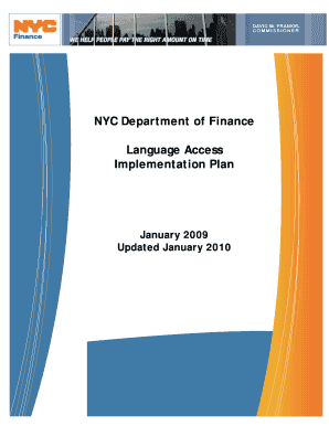 NYC Department of Finance Language Access Implementation Plan