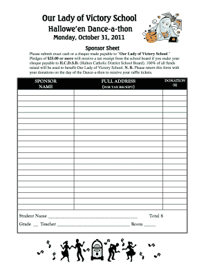 Fillable online dance a thon sponsor sheet halton catholic rate this form pronofoot35fo Images