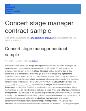 stage manager contract form
