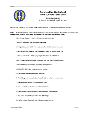 Commas worksheet high school pdf