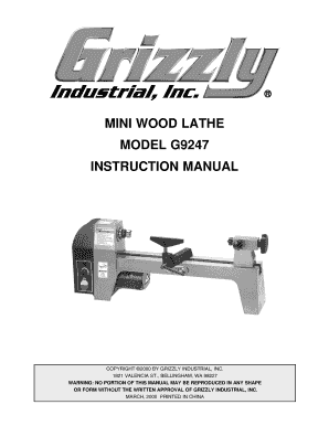 Mini wood lathe model g9247 instruction manual - Grizzly Industrial ...