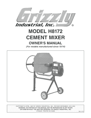 MODEL H8172 CEMENT MIXER - Grizzly Industrial Inc.