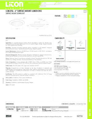 fillable online lcmld56 6 surface mount lumen disc liton