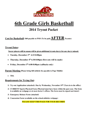 6th Grade Girls Basketball 2014 Tryout Packet Cost For