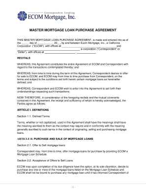 Fillable online master mortgage loan purchase agreement ecom fill online platinumwayz