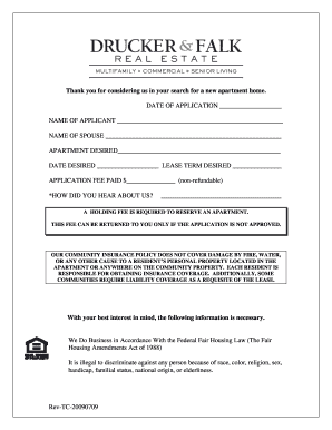 Rental Application Form - Crater Square Apartments