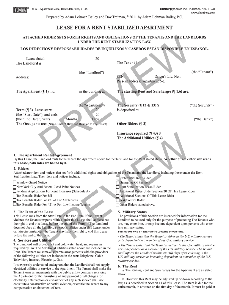 Nyc Rent Stabilized Lease Form Pdf Fill Online Printable Fillable Blank Pdffiller