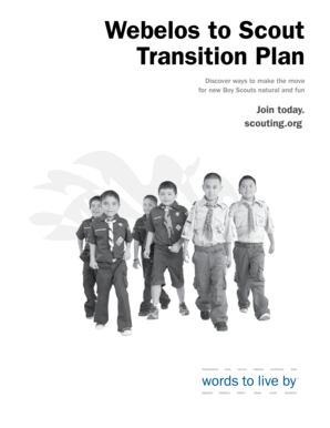 Webelos to Scout Transition Plan