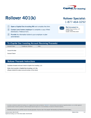 Rollover 401(k) Fill Online, Printable, Fillable, Blank