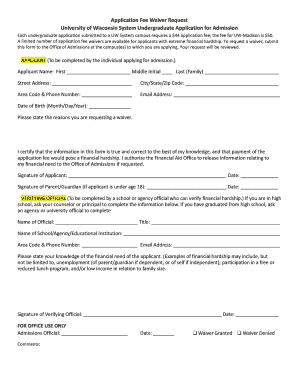 UW System Application Fee Waiver Request Form