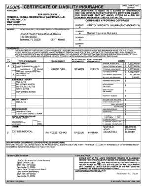 Printable acord 25 2016 Forms and Document Templates to ...